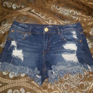 Size 9 jean shorts frayed